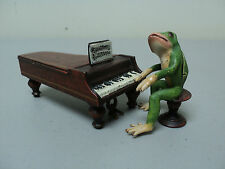 """ADORABLE COLD PAINTED BRONZE MINIATURE """"FROG PLAYING GRAND PIANO"""" FIGURINE"""