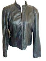 VTG Womens M Maxima Wilsons Black Soft Leather Cafe Racer Motorcycle Jacket