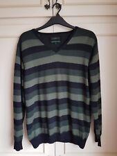 Jasper Conran pure merino wool green and black stripes v-neck jumper Large