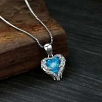 Classic Love Heart Blue Fire Opal Gemstone 925 Sterling Silver Necklace Pendants