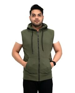 New Men's Sleeveless Hoodie Zip Up Hooded Sweatshirt Top Gilet Fleece Jacket