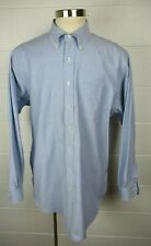 Mens Brooks Brothers Button Front Shirt Blue Supima Cotton USA 18.5 - 37