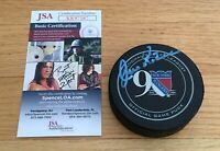 Jean Ratelle NY Rangers HOFer Autograph Signed Official Game Hockey Puck JSA COA