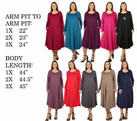 PLUS SIZE WOMENS SOLID CASUAL LONG SLEEVE SCOOP NECK FLOWY A-LINE MIDI DRESS