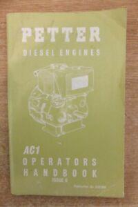 petter AC1 diesel engine operators & parts list handbook  vintage antique