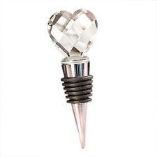 Chrome Bottle Stopper with Crystal Heart Wedding Favors, 1 LW