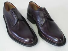 New Bally Belluno Shoes 10E Burgundy Plain Toe Oxfords Made in Switzerland