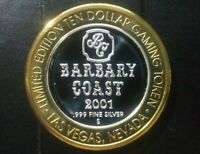 2001 Barbary Coast LV Limited Edition 10 Dollar Gaming Token .999 Pure Silver