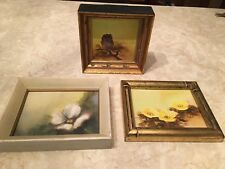 Set 3 original signed BOSTICK southern artist paintings owl retro 1970's mod lot