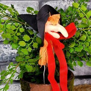 Vintage Kitchen Witch Head Ornament Stem Pick Halloween Tree BIG NOSE 70s NOS V3