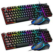 For PC Laptop Gaming Rainbow LED Backlit Wired Mechanical Keyboard and Mouse Set