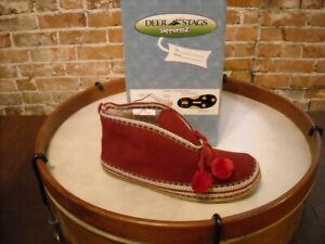 Deer Stags Slipperooz Mutsy RED Microsuede Slipper Booties 8 NEW