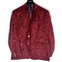 Robert Graham Men's Scarlet Red Maroon Paisley Blazer Jacket Sz 46 w/Garment Bag