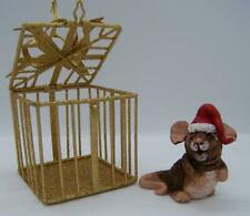 "Mouse ornament ,3"",brown,polymer,Ch ristmas,glass,metal cage- Claydoodles"