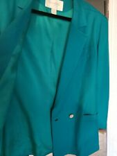 ChristIan Dior Suit  Blue Green teal Pencil Skirt 90's Blazer  Size 10 RETRO