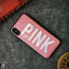 Fashion PINK Embroidery Bling Glitter soft Case Cover for iPhone X 8 7 6 6S Plus