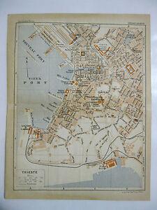 stampa antica old print  MAPPA PIANTA CARTA TOPOGRAFICA FRIULI TRIESTE  1914