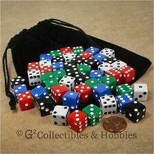 NEW 50 Multicolor 12mm D6 RPG Dice & Bag Set 5 Colors MTG Magic WARHAMMER