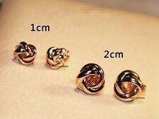 18K GP Rose Gold Plated Knit Rose Stud Earrings OL Elegant Chinese Knot 12mm
