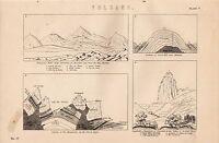 1868 Estampado ~Volcán~ Trachytic Hills Auvernia ~ Langhofel Dolomite Tyrol Etc