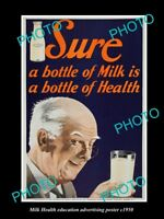 OLD LARGE HISTORIC PHOTO OF MILK HEALTH EDUCATION POSTER c1950s USA 1