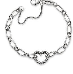 New James Avery Sterling Silver 925 Changeable Heart Charm Bracelet Medium