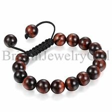 Men 10MM Tiger Eye Stone Healing Energy Yoga Meditation Mala Bracelet Adjustable