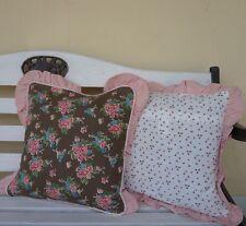 Kissenbezug 40*40 rosa Rose braun kleine Blüte beidseitig Dekokissen Clayre&Eef