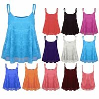 Womens ladies Mesh Camisole Strappy Cami Full Floral Lace Flared Swing Vest Top