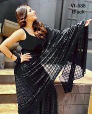 Elegant Designer Women's Georgette Silk Sari Sequin Work Western Style Saree