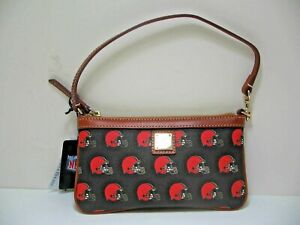 Dooney & Bourke BAG Small Clutch Purse Cleveland Browns Brown Black Leather NEW
