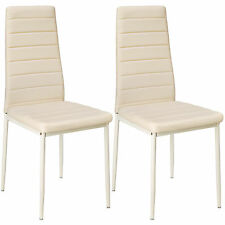 2 Modern Dining Chairs Dining Room Chair Table Faux Leather Furniture Cozy Beige