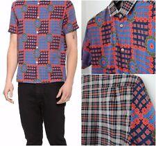 Marc by Marc Jacobs Mens Floral Check Cotton Short Sleeve Shirt Sz-M