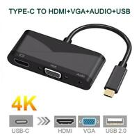 USB C Type-C to 4K HDMI VGA 3.5mm Audio Cable for Adapter PC Macbook Galaxy S9
