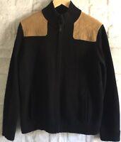 Womens Lauren Ralph Lauren Black Zip Up Sweater Elbow Patch Sweater Size Large