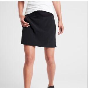 Athleta Black Soho Skirt Skort Zip Pockets Size 8