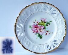 Porzellan Teller, Blumen, Handmalerei, C. Tielsch & Co Schlesien, um 1848 AL473