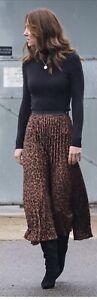 Zara braun Leopardenmuster Plissiert Midi Rock ASO Kate Middleton Size M Bnwt