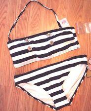 Juicy Couture Nautical Stripe Button LogoBandeau Bikini Large NWT
