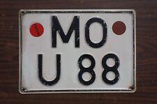 Vintage Germany License Plate German # MO - U 88 with Stickers