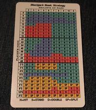 NEW Las Vegas Nevada Gambling Blackjack EASY TO READ Basic Strategy Guide Card