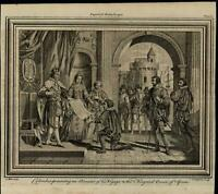 Columbus Voyage Ferdinand & Isabella ca. 1780's fascinating old engraved print