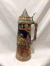 """Antique German Lidded Beer Stein Mug 16.5"""" Tall Germany"""