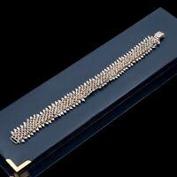 Antique Vintage Deco 925 Sterling Silver Granulated Mesh Chain Bracelet 21.7g