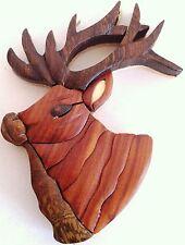 Magnet Elk Intarsia Buck Handcrafted Brown wood MAG-145 New