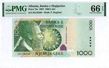 Albania 1.000 Leke 2007 PMG 66 EPQ s/n IR138506 Paper