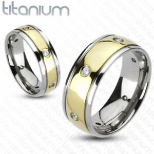 Multi-CZs Gold IP Center Dome Wedding Band 8mm Men's Ring Solid Titanium