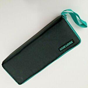 Vtg Case Logic Cassette Tape Storage Case Zippered Holds 15 Black & Teal