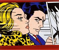 Roy Lichtenstein Oil Painting on Canvas Pop art home decor In the Car 28x28""