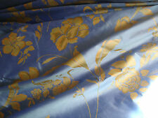 HAND PAINTED  SILK TAFFETA BLUE, PEACH, BY THE YARD